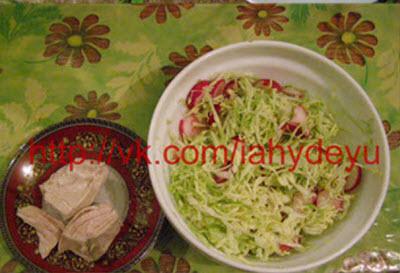 Фото приема пищи из куриной грудки, а также салата  из редиса, капусты и кефира