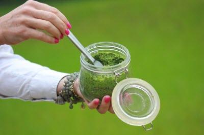 Фото зеленого смузи, он поможет вам худеть без денег, если вы  выращиваете зелень в своем огороде или на окошке